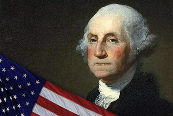 George Washington con la bandera de Estados Unidos.